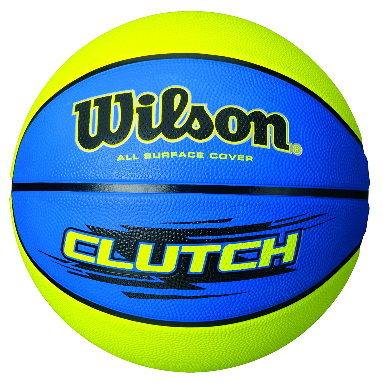 Wilson Ballon Basketball Extérieur, Surface Rugueuse, Asphalte, Granuleuse, Sol synthétique, Taille 7, À partir DE 12 Ans, Clutch Bleu/Vert WIMX4|#WILSON WTB1432ID