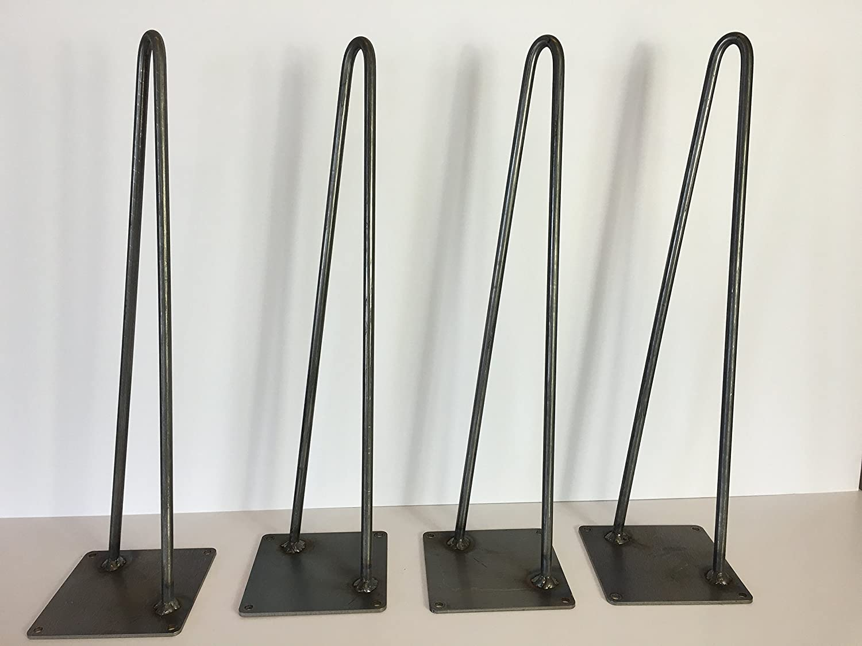 Amazon.com: Hairpin Leg, Metal Table Leg Set Of 4 Modern Industrial 2 Rod Hairpin  Leg Base   Raw Steel   12 Inch High,16 Inch,18 Inch,20 Inch,28 Inch,34 ...