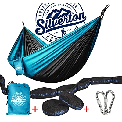Camping Hammock with Nylon Straps and Carabiners by Silverton Portable & Durable 210T Nylon Rated for 450 lbs. & Can Be Used to Doublenest - Great for Backpacking The Great Outdoors : Sports & Outdoors