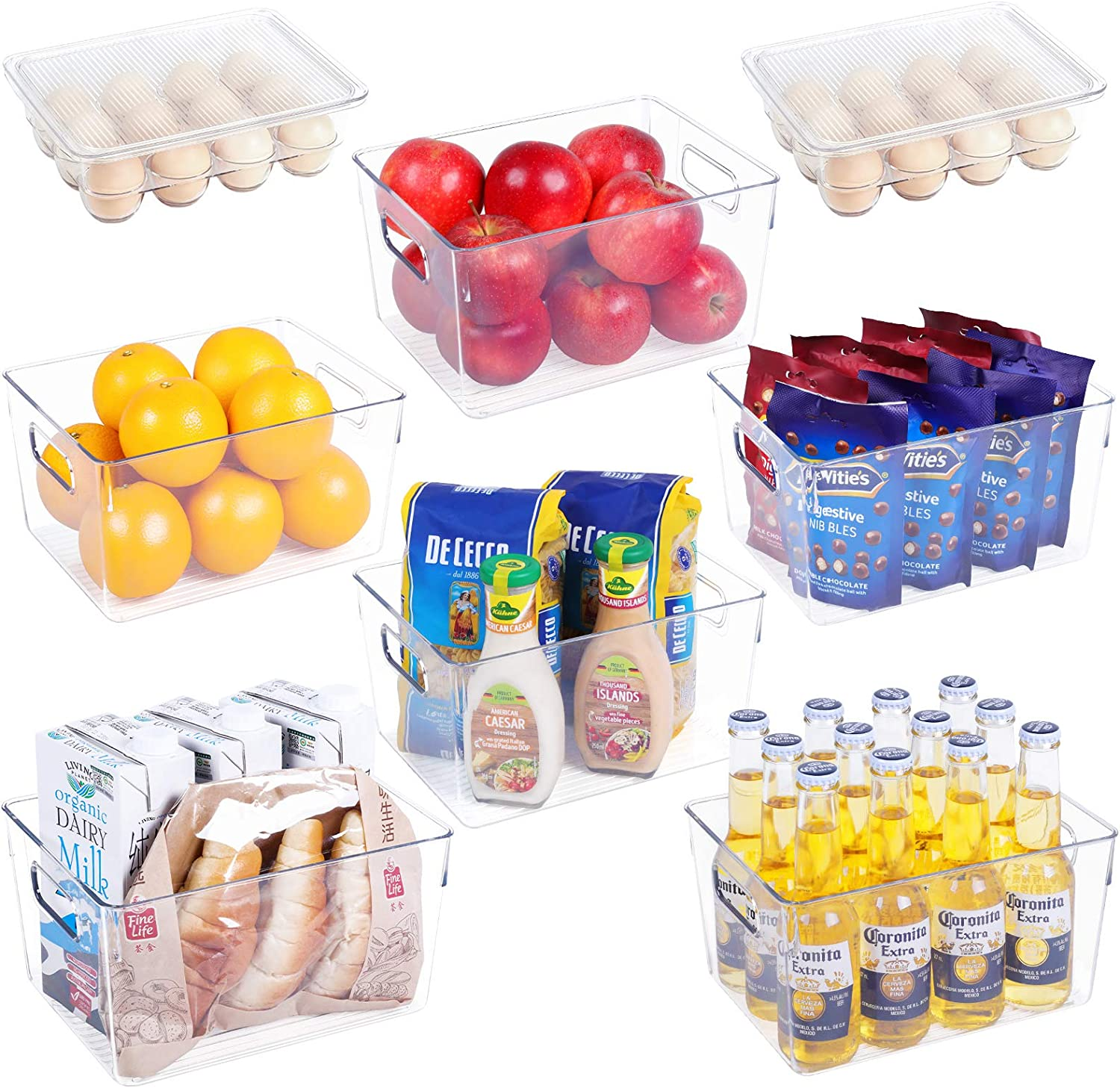 Clear Fridge Organizer Bins Set - 8 Piece Plastic Organizer Bins with Handle for Refrigerator, Stackable 12 Egg Tray Holder with Lid for Pantry, Condiment Organizer Bins for Kitchen