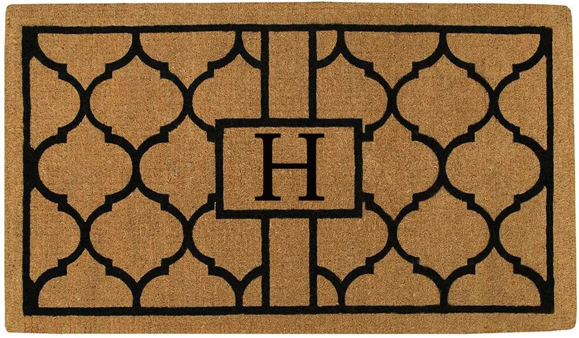 Home More 180081830H Pantera 18 X 30 Extra-Thick Monogrammed Doormat Letter H