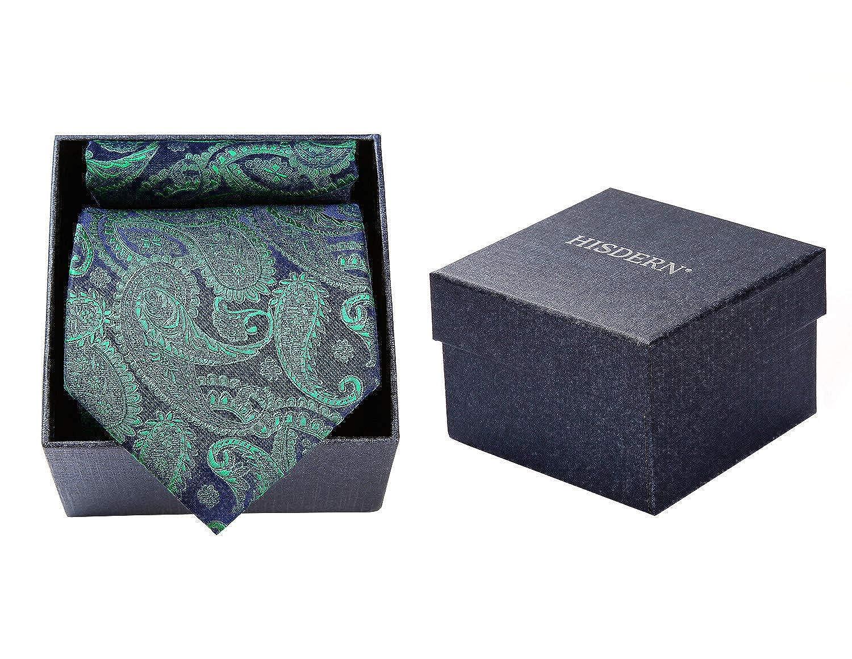 Hisdern Corbata de los Hombres Conjunto de Caja de Regalo Floral Paisley Corbata Cuadrada de Bolsillo Panuelo de Moda Elegante Panuelo