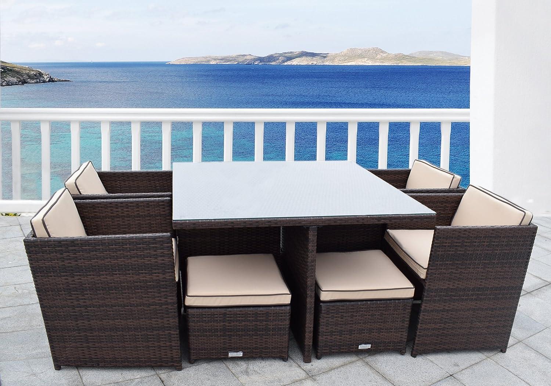 Amazon.com : Wicker Outdoor Rattan Furniture Dining Set Modular ...