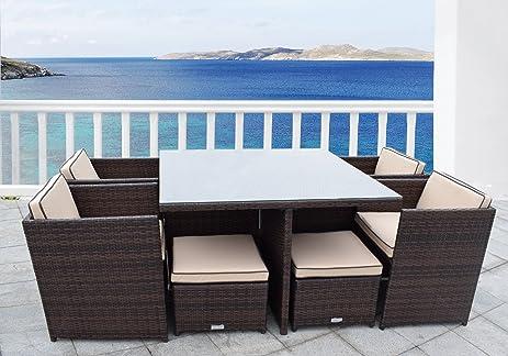 Wicker Outdoor Rattan Furniture Dining Set Modular Patio Chairs Brown  Cushions - Amazon.com : Wicker Outdoor Rattan Furniture Dining Set Modular