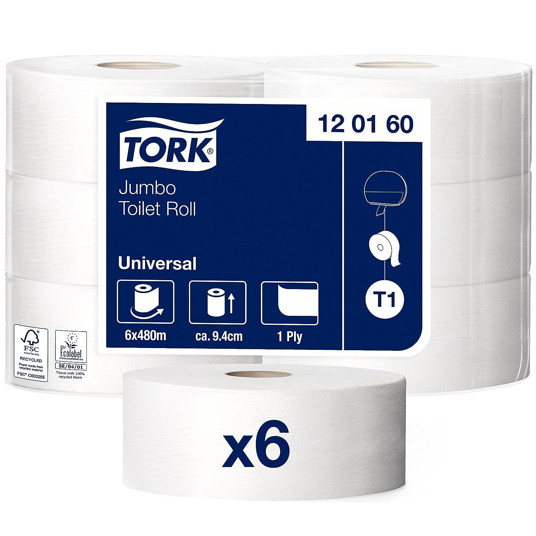 Tork 120160 Rollos de papel higiénico Jumbo Universal de larga duración de 1 capa compatibles con el sistema higiénico Jumbo Tork T1, 6 rollos (6 x 2400 ...