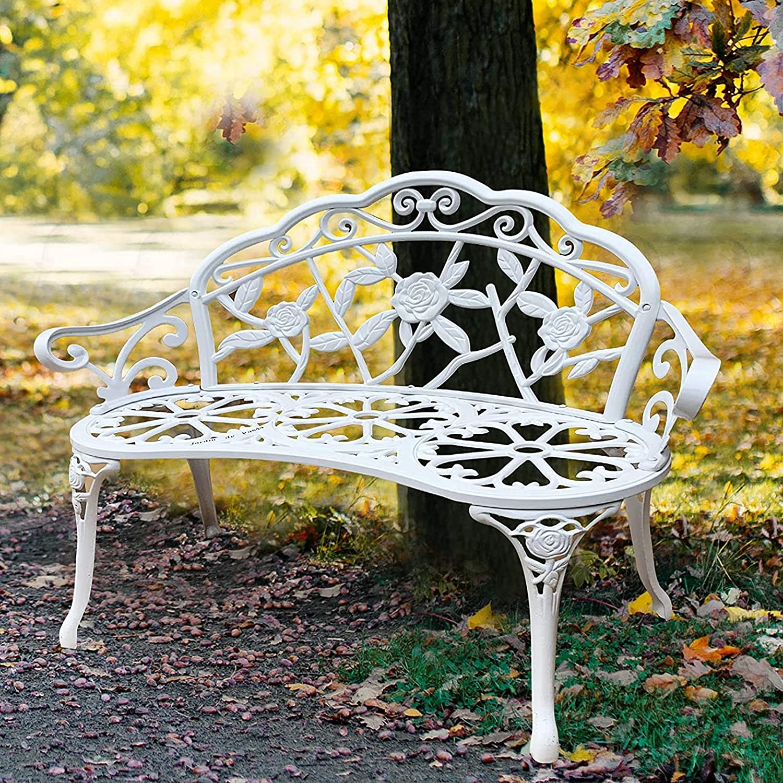 Garden Outdoor Bench, Backyard Bench Metal Garden Bench Porch Outdoor Furniture for Patio Park Lawn Yard Antique Finish 32x21x40,A