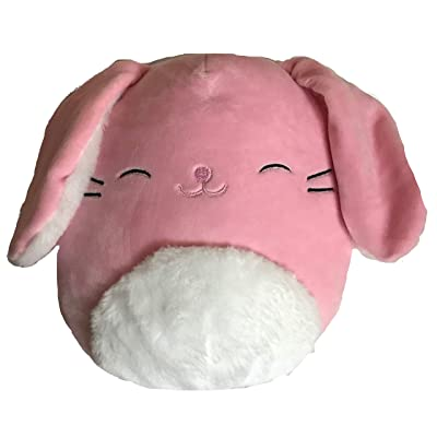 SQUISHMALLOWS Pink Fuzzy Belly Bop Easter Pink Bunny Rabbit Plush 8 Inch: Toys & Games