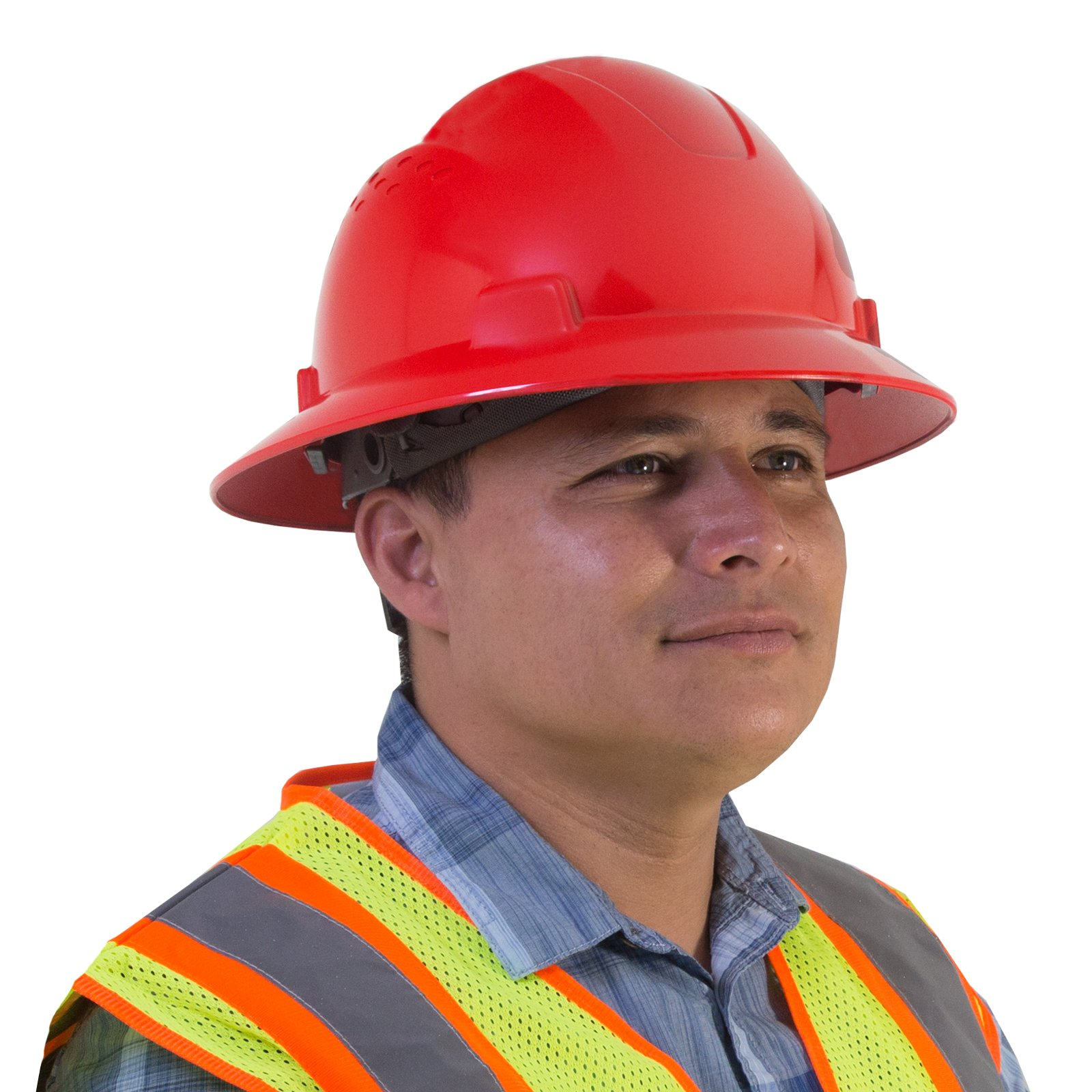 PPE By JORESTECH - HDPE Full Brim Style Hard Hat Helmet w/Adjustable Ratchet Suspension For Work, Home, and General Headwear Protection ANSI Z89.1-14 Compliant (Red) by JORESTECH (Image #2)