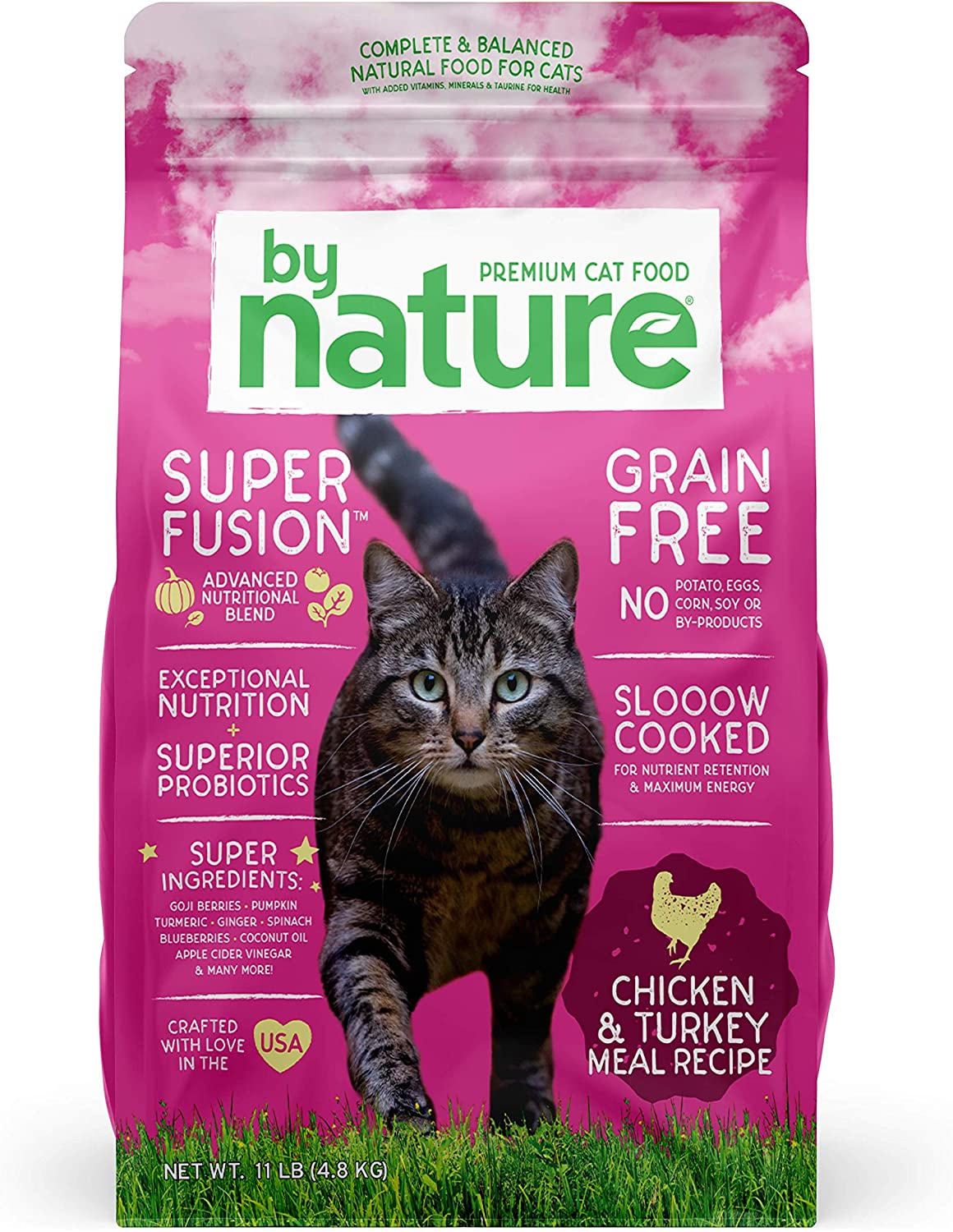 By Nature Pet Foods Grain Free Cat Food Made in USA [Grain Free Dry Cat Food with Superfood Ingredients for Food Sensitivities and Immune Health]