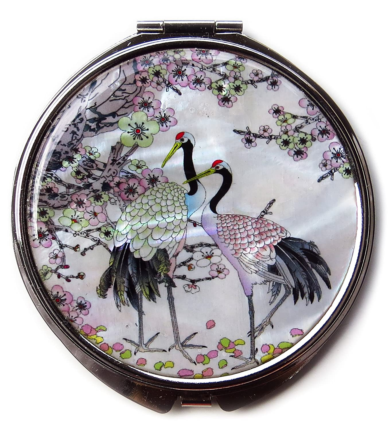 Compact Makeup Mirror Cosmetic Korean Mother of Pearl Lacquered Apricot Tree Crane White 5