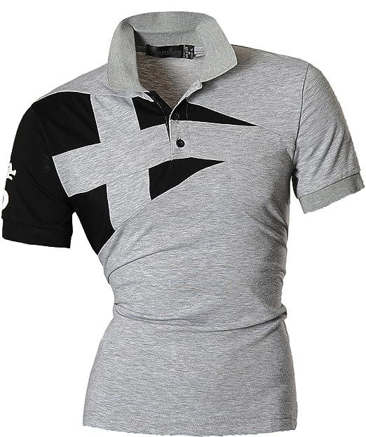 1f844ed1ffe jeansian Men s Casual Slim Fit Short Sleeves Polo Shirt T-Shirt Tops U009  Gray S