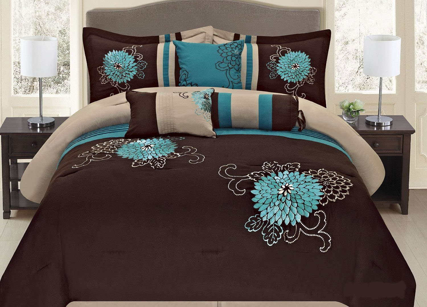 Fancy Collection 7-pc Embroidery Bedding Brown Turquoise Comforter Set (Queen