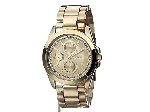 Amazon.com: Geneva Womens FMDJM123 Analog Display Quartz Gold Watch: Watches