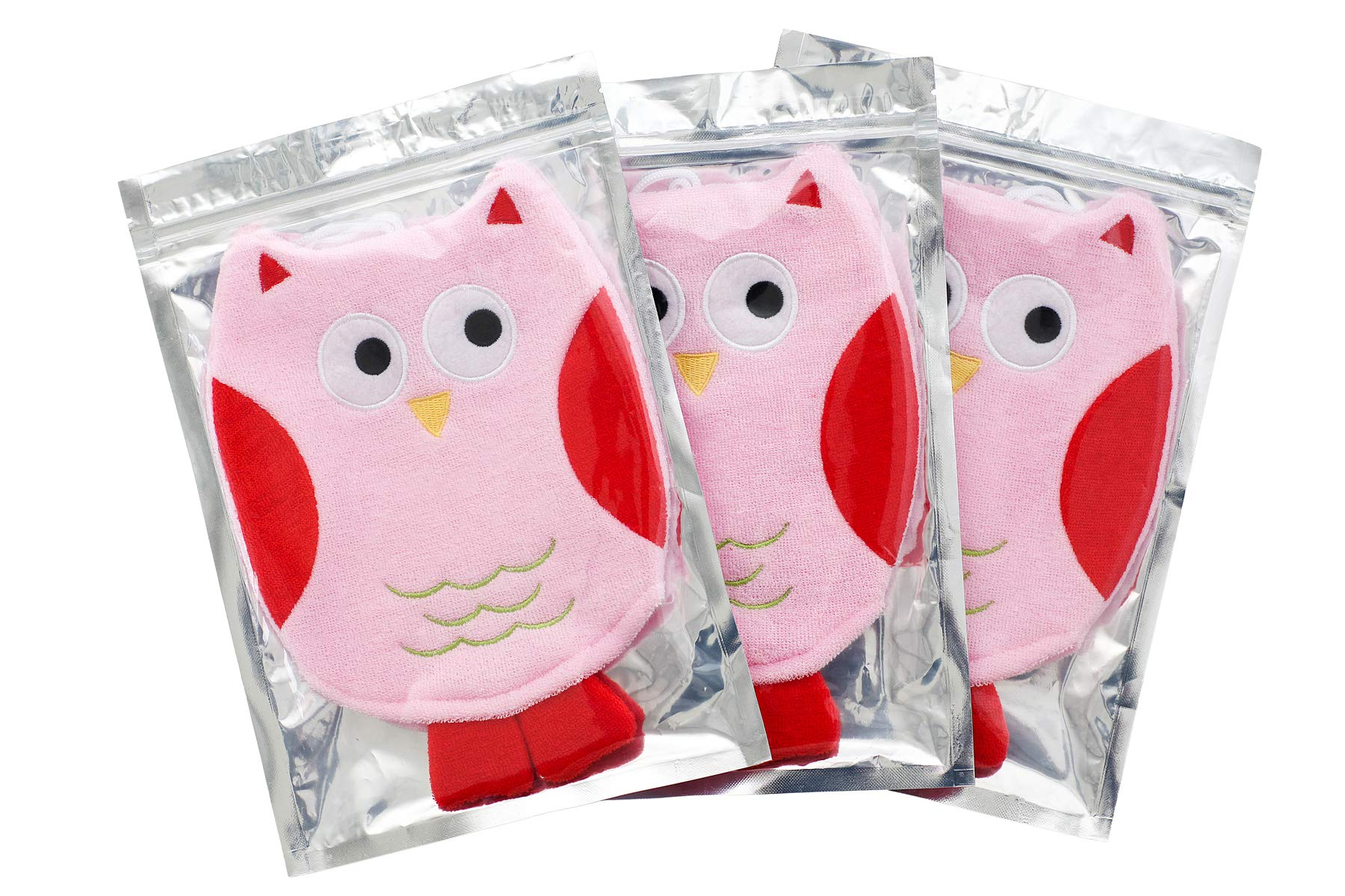 Cute Owl Baby Bath Glove/Toddler Soft Bath Cloth/Puppet Mitt/Scrubber (PinkOwl [3-Pack]) by Piggy Button