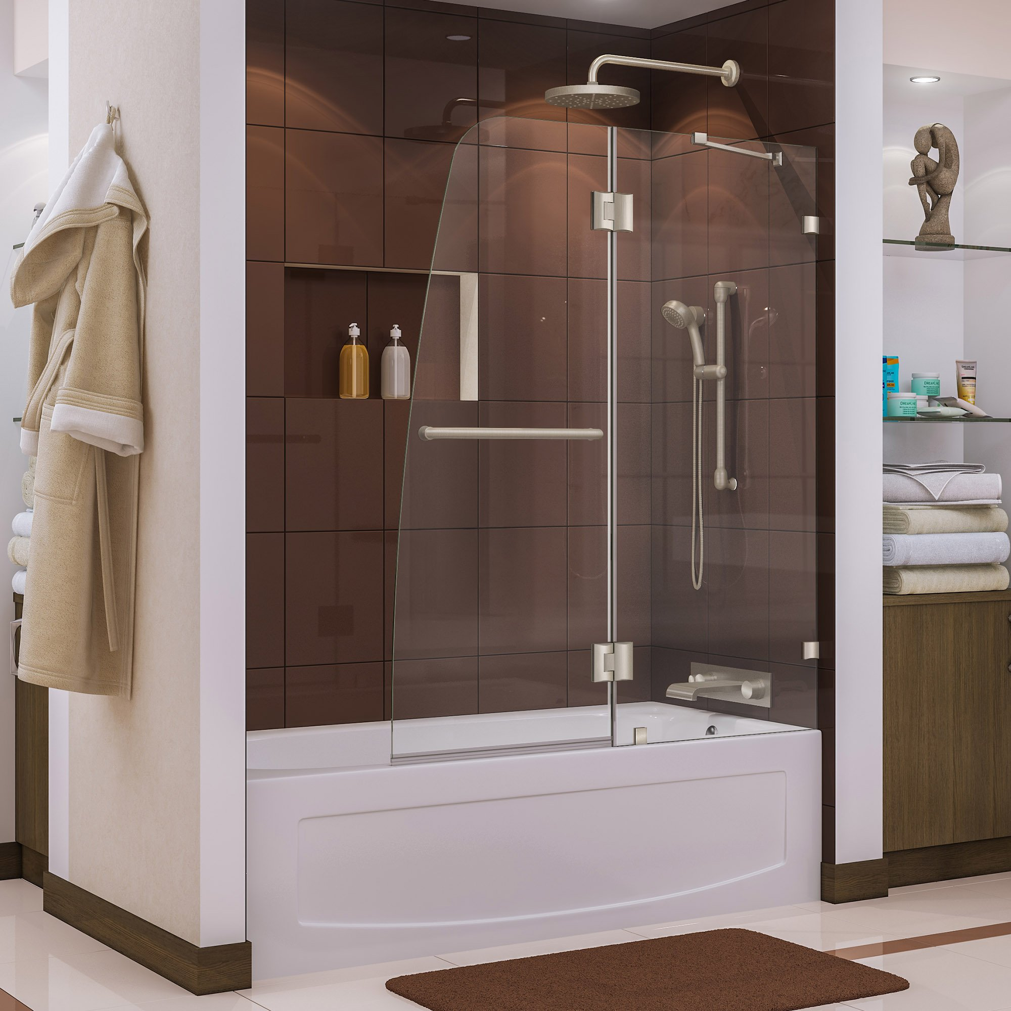 DreamLine Aqua Lux 48 in. Width, Frameless Hinged Tub Door, 5/16'' Glass, Brushed Nickel Finish