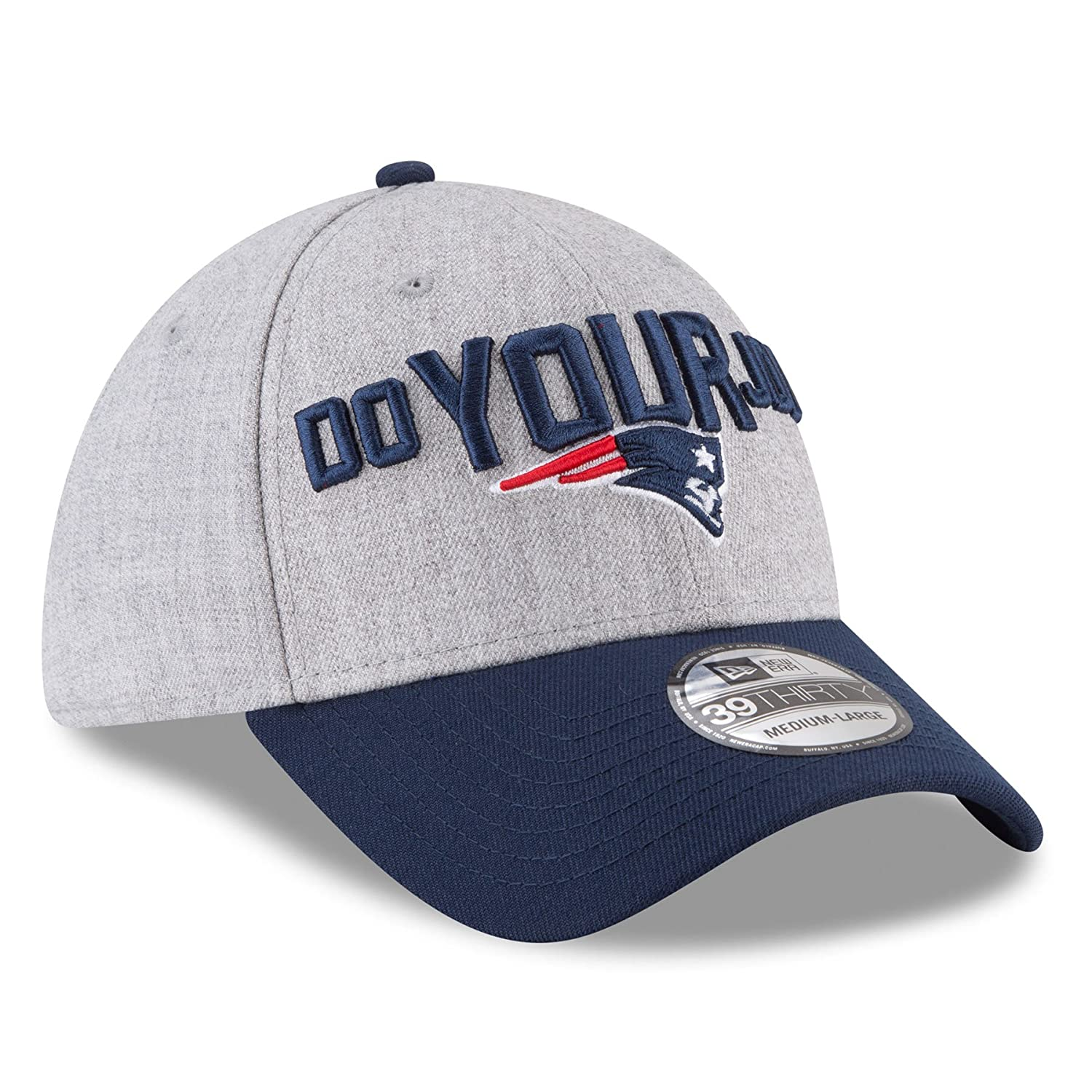 ee8dc37a0 Men s New England Patriots New Era Heather Gray Navy 2018 NFL Draft Official  On-Stage 39THIRTY Flex Hat (Medium Large)