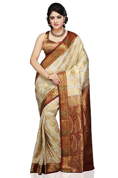 f2927ff5688 Aayori Women s Silk Saree With Blouse Piece (Sl175 Off White Maroon ...