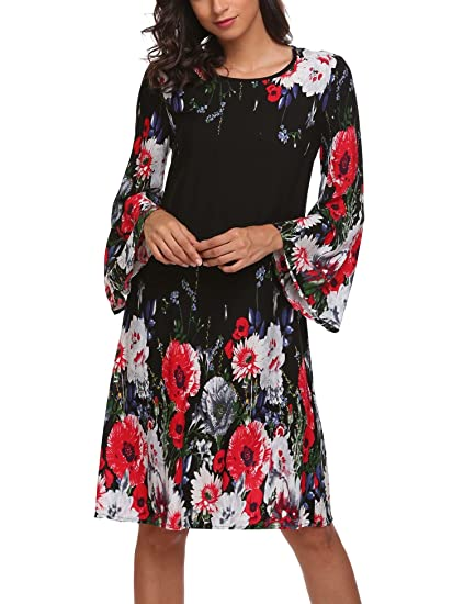 cacc7ec662a8 SE MIU Women Bohemian Floral Print Long Sleeve Loose Casual Beach ...