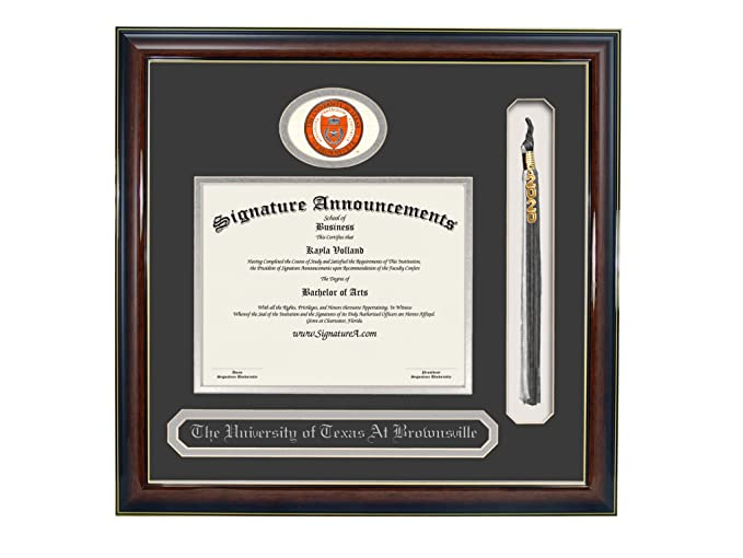Sculpted Foil Seal Signature Announcements University Brownsville-and-Texas-Southmost-College Undergraduate Name /& Tassel Graduation Diploma Frame 20 x 20 Gloss Mahogany with Gold Accent