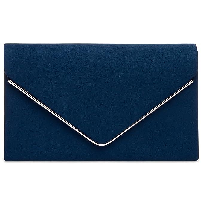 CASPAR TA356 Bolso de Mano Fiesta de Velour para Mujer/Clutch Elegante con Cadena Larga, Color:azul oscuro;Tamaño: Talla Única: Amazon.es: Ropa y accesorios