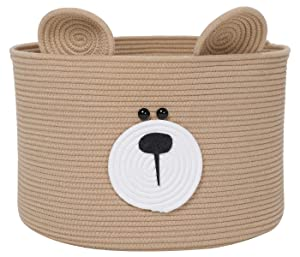 "Bear Basket, Animal Basket, Large Cotton Rope Basket, Large Storage Basket, Woven Laundry Hamper, Toy Storage Bin, for Kids Toys Clothes in Bedroom, Baby Nursery, Beige 18""x12"""