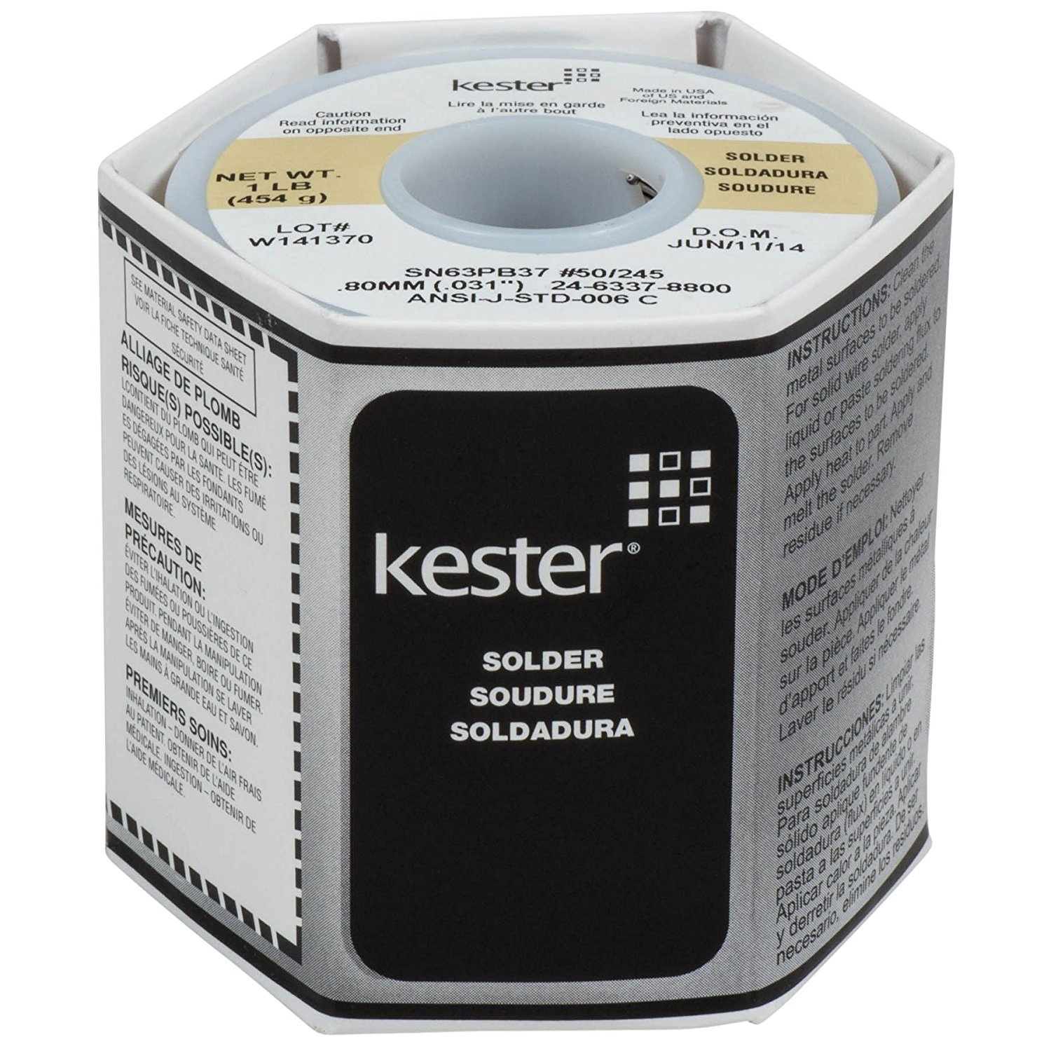 Kester 24-6337-8800 50 Activated Rosin Cored Wire Solder Roll, 245 No-Clean, 63/37 Alloy, 0.031'' Diameter by Kester Solder