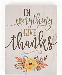P. Graham Dunn in Everything Give Thanks Floral Whitewash 7.25 x 5.5 Solid Wood Barnhouse Block Sign