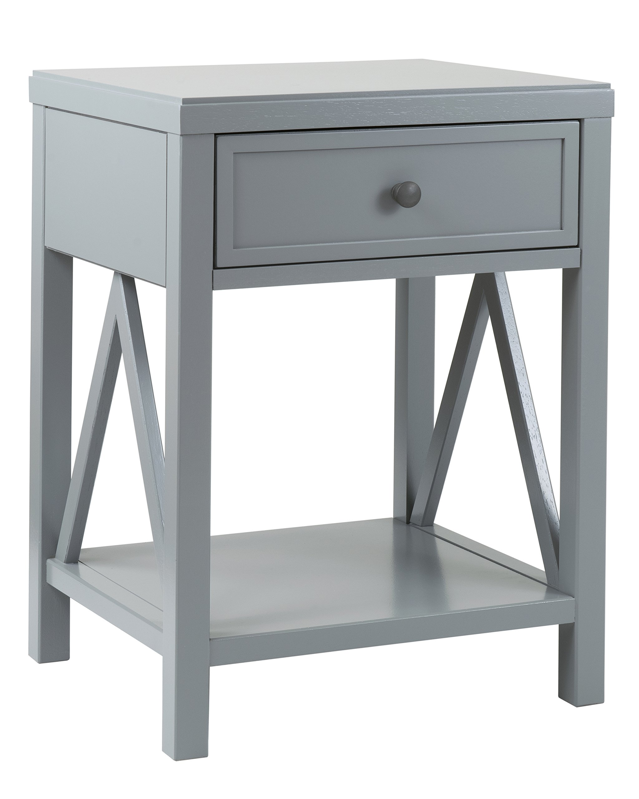 East at Main Wilcox Acacia Wood Square Accent Table, Grey, (15'' L x 17'' W x 23'' H)