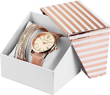 Reloj Mujer Oro Rosa Oro Rosa + 5 Joyas Pulseras + Caja Reloj de Pulsera: Amazon.es: Relojes