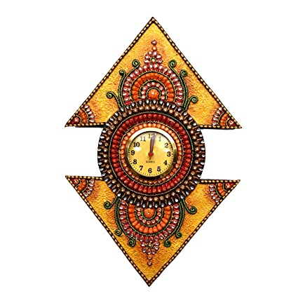 Home Decorative Items | Gift Shop Handicraft Gifts Paper Mache Wall Clock (Product Dimensions: (inches) 13 x 1 x 21)