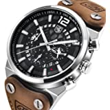 Men's Fashion Business Quartz Watch with Brown Leather Strap Skeleton Military Chronograph Waterproof Date Display Analog Sport Wrist Watches for Male