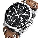 Homme militaire montres Squelette chronographe montre à quartz pour homme extérieur Grand cadran montre l'armée montre de sport pour homme Marron Sangle montres pour homme