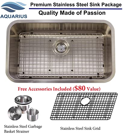 aquarius 30x18x9 16 gauge big single bowl undermount stainless steel kitchen - Stainless Steel Sink Grid