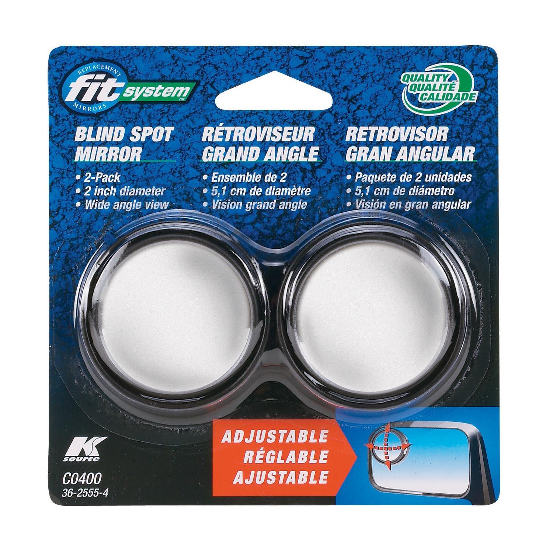 Fit System C0400 Driver/Passenger Side Stick-On Adjustable Blind Spot Mirrors – Pack of 2