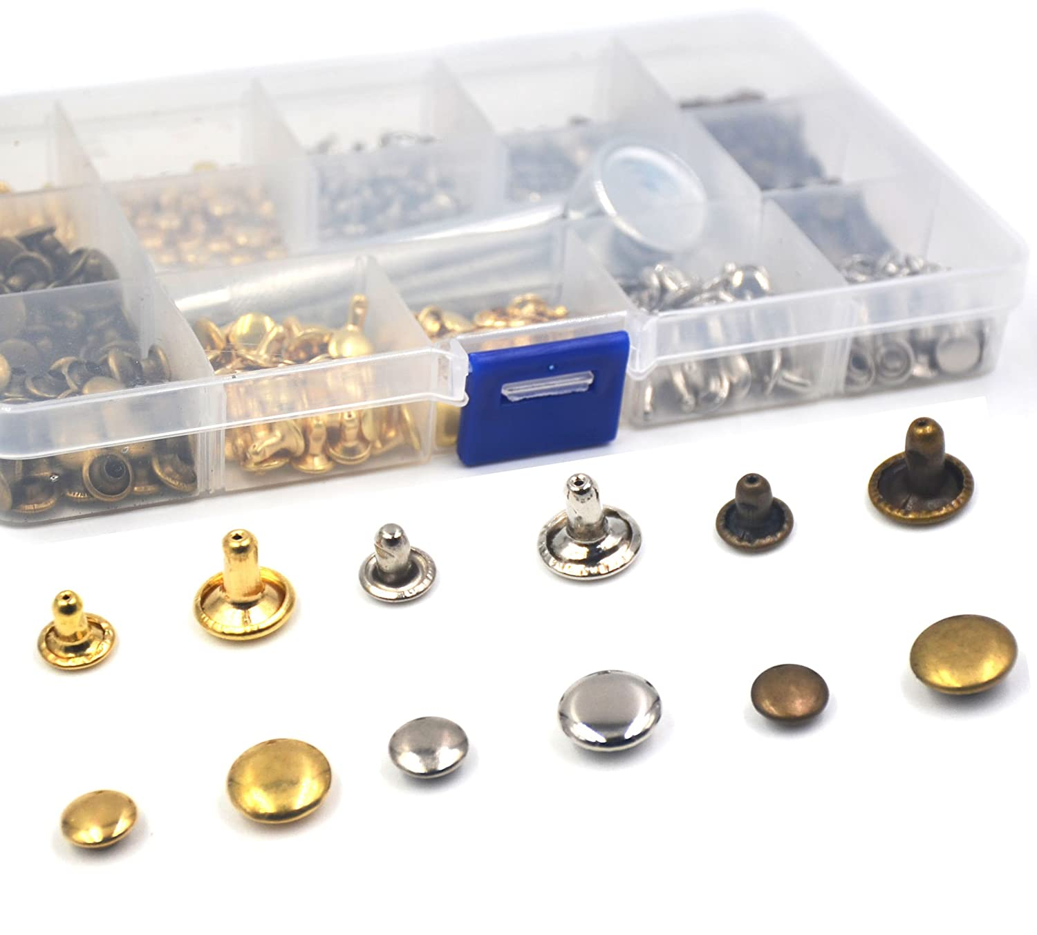IRISFLY 240 Pcs Leather Rivets Double Cap Rivet Tubular Metal Studs with 3 Fixing Tool Kit for Leather Craft Repairing Decoration,2 Sizes(6mm,8mm) and 3 Colors (Gold, Silver and Bronze)