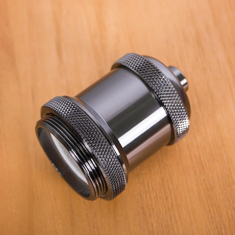 Bestmart INC Vintage Screw Metal Light Socket Keyless Lamp Holder Knob for E26/E27 Bulb New (Pearl Black)