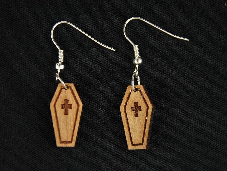 pendientes de ata/úd pendiente Miniblings sarc/ófago de madera de Halloween Horror LC funeral