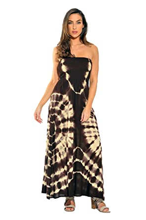 4d1745515c Riviera Sun 21611-CB-S Strapless Tube Maxi Dress Summer Dresses Brown