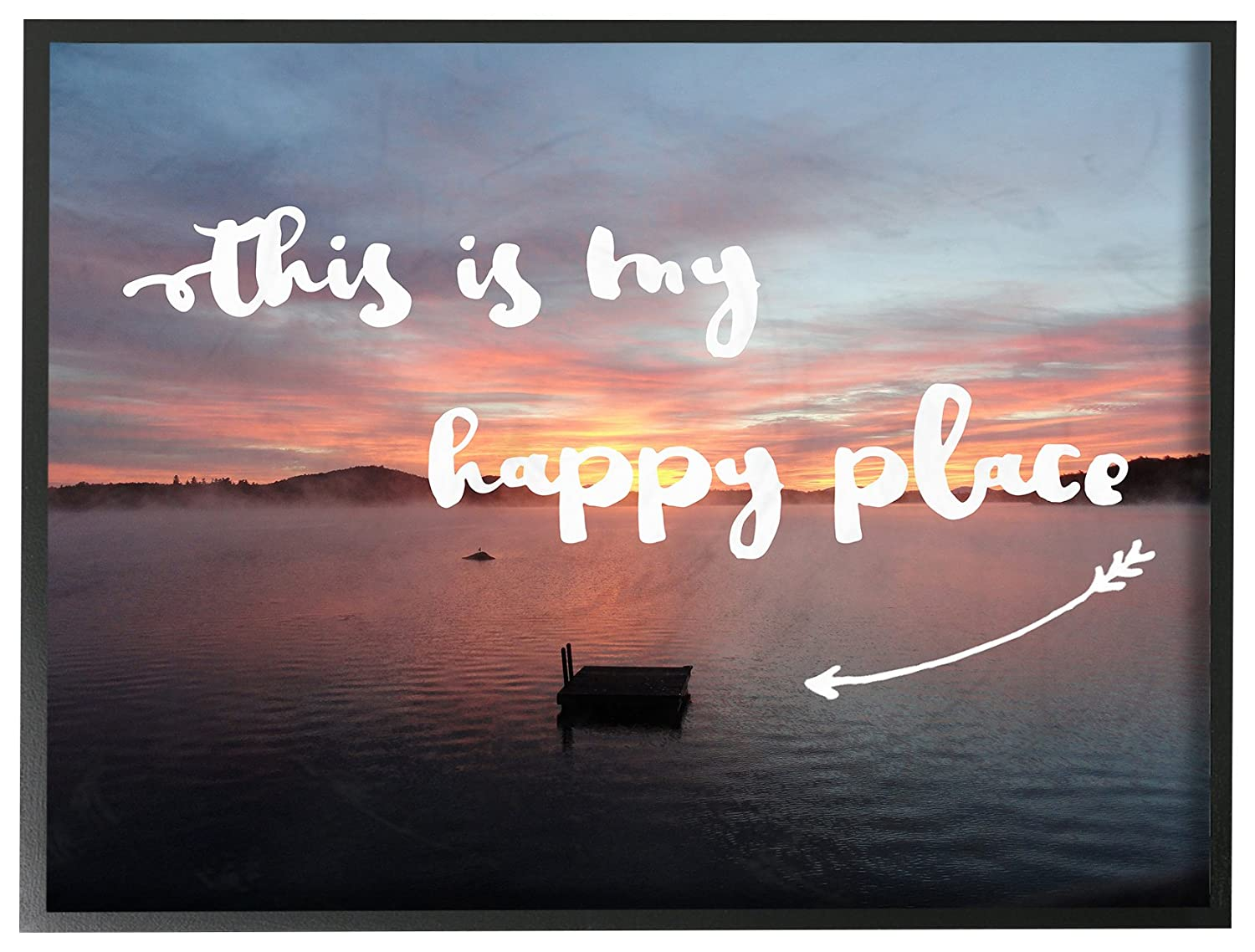 Stupell Home D/écor This Is My Happy Place Lakeside Framed Giclee Texturized Art Proudly Made in USA 11 x 1.5 x 14