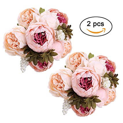 Amazon starlifey fake peony bouquet silk peonies wedding starlifey fake peony bouquet silk peonies wedding centerpiece decoration spring simulation flowers light pink x2 mightylinksfo
