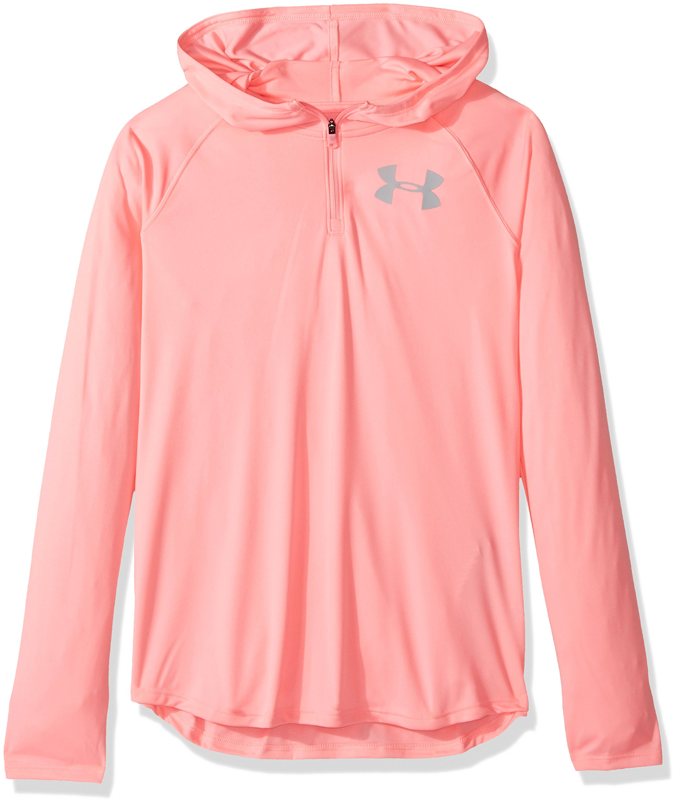 Under Armour Girls' Tech 1/4 Zip Hoody,Pop Pink (979)/Overcast Gray, Youth Small