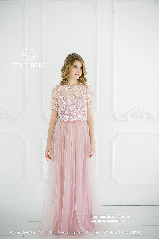 Amazon.com: Blush #8 Albertine Dress, Lace Tulle Dress, Long Blush ...