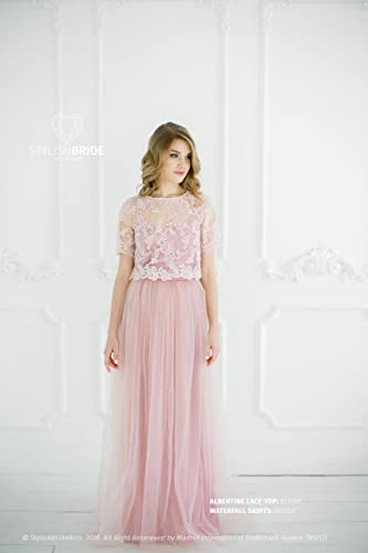 Blush #8 Albertine Dress, Lace Tulle Dress, Long Blush Engagement Waterfall Skirts,