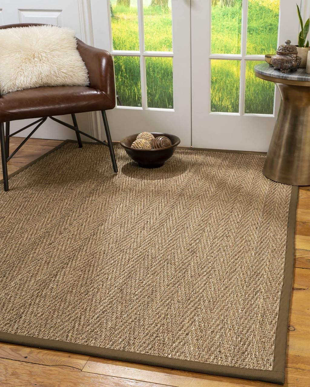 Natural Area Rugs 100 , Natural Fiber Handmade Beach, Natural Seagrass Rug 9 x 12 Malt Border