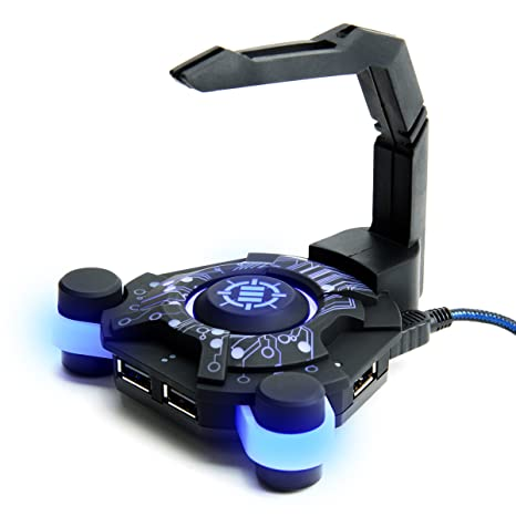 cc863bf9596 ENHANCE LED Gaming Mouse Bungee Cord Holder with 4-Port USB Hub - Blue  Lighting