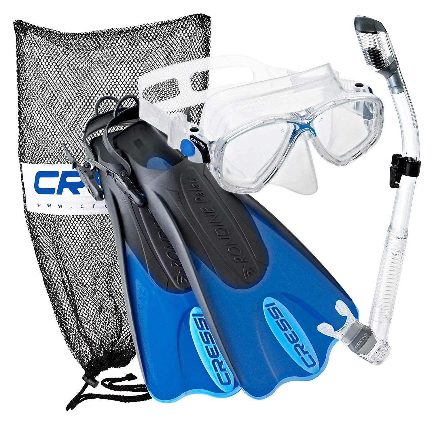 Cressi Palau Mask Fin Snorkel Set with Snorkeling Gear Bag, Designed and Manufactured in Italy (Blue, S/M | (Mens 4-7) (Womens 5-8))