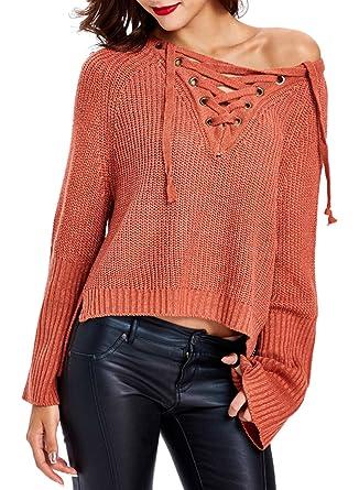 128453359b Futurino Women s Long Sleeve Lace up Front V Neck Knit Sweater ...