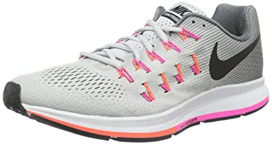 detailed look 198fd e0b7b Image Unavailable. Image not available for. Color  Nike Women s Wmns Air  Zoom Pegasus 33, PURE PLATINUM BLACK-COOL GREY-