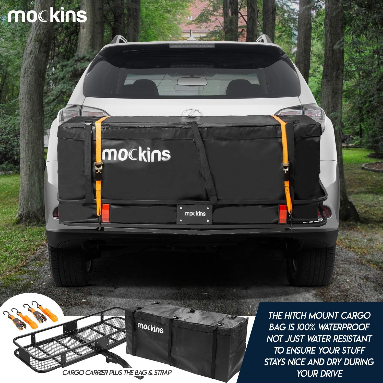 """The Steel Cargo Basket is 60/"""" Long X 20 Wide X 6/"""" Tall with A Hauling Weight Capacity of 500 Lbs and A Folding Shank to Preserve Space When Not in Use /… Mockins Hitch Mount Cargo Carrier"""