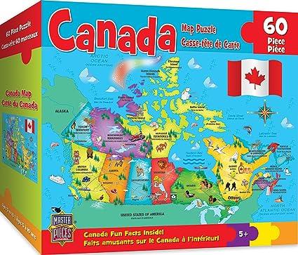 States Of Canada Map.Amazon Com Masterpieces Explorer Kids Canadian Map 60 Piece